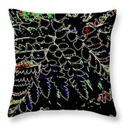 Electric Ferns Throw Pillow