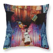 Electric Forest-people Building Houses In The Trees Throw Pillow