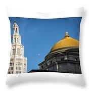 Electric Moon Gold  Throw Pillow