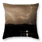 Electric Sepia Skies  Throw Pillow