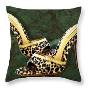 Electric Slide In Leopard Throw Pillow