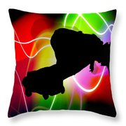 Electric Spectrum Skateboarder Throw Pillow