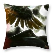 Electric Sunflower Throw Pillow