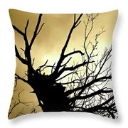 Electric Tree Black And Gold Throw Pillow