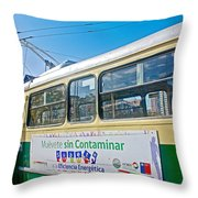 Electric Trolley Took Us To The Port In Valparaiso-chile  Throw Pillow