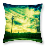 Electric Wires Across The Land Throw Pillow
