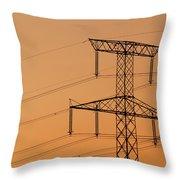 Electricity Pylon At Sunset  Throw Pillow