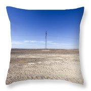 Electricity Pylon In Desert Throw Pillow