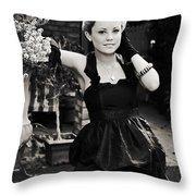 Elegant Gardening Lady Throw Pillow