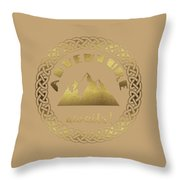 Elegant Gold Foil Adventure Awaits Typography Celtic Knot Throw Pillow