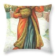 Elegant Lady In Snow, Christmas Card Throw Pillow