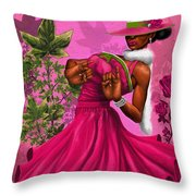 Elegant Pink And Green Throw Pillow