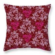 Elegant Red Floral Design Throw Pillow