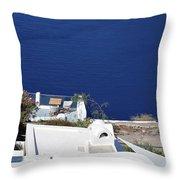 Elegant Restaurant In Santorini, Greece  Throw Pillow