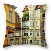 Elegant Vienna Apartment Building Throw Pillow