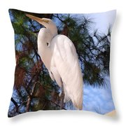 Elegant White Crane Throw Pillow