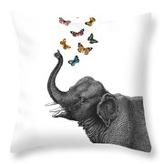 Elephant Blowing Butterflies From His Trunk Throw Pillow