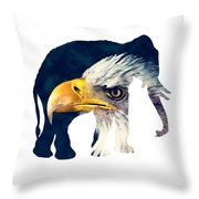 Elephant And Eagle Throw Pillow