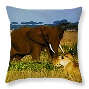 Elephant And The Lions Throw Pillow