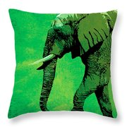Elephant Animal Decorative Green Wall Poster 4 Throw Pillow
