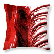 Elephant Animal Decorative Red Wall Poster 14 - By  Diana Van Throw Pillow