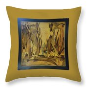 Elephant Artwork With Wooden Waste Throw Pillow