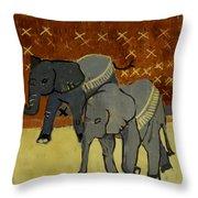 Elephant Calves Throw Pillow