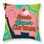 Elephant Car Wash - Rancho Mirage - Palm Springs Throw Pillow by Jim Zahniser