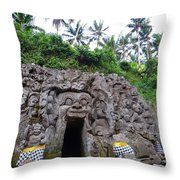 Elephant Cave Temple Throw Pillow
