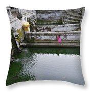 Elephant Cave Temple Fountain Throw Pillow