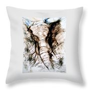 Elephant Charge Throw Pillow