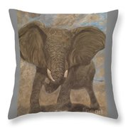 Elephant Charging Throw Pillow
