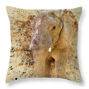 Elephant Color Splash Throw Pillow