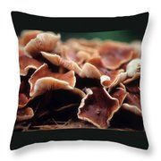 Elephant Ear Mushroom Family Throw Pillow