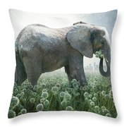Elephant Eating Onions Throw Pillow
