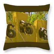Elephant Fountain One Throw Pillow