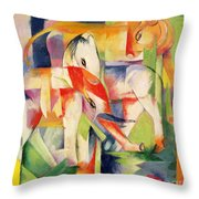 Elephant Horse And Cow Throw Pillow