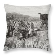 Elephant Hunters In The 19th Century Throw Pillow