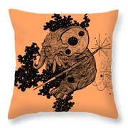 Elephant In Outer Space Throw Pillow