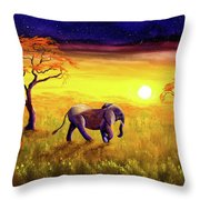 Elephant In Purple Twilight Throw Pillow