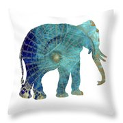 Elephant Maps Throw Pillow
