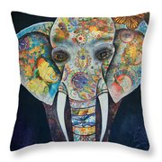 Elephant Mixed Media 2 Throw Pillow