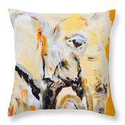 Elephant Orange Throw Pillow