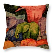 Elephant Party Throw Pillow