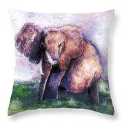 Elephant Poised Throw Pillow