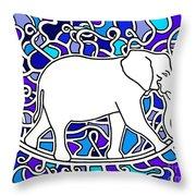 Elephant Rocker Blue Magoo Throw Pillow