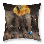 Elephant Run Throw Pillow