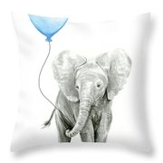 Elephant Watercolor Blue Nursery Art Throw Pillow