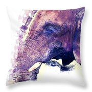 Elephant Watercolor Painting Throw Pillow