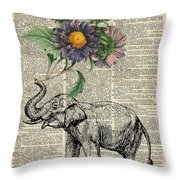 Elephant With Flowers Throw Pillow